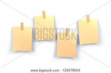 yellow sticky notes isolated on white background 3d illustration