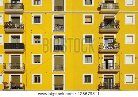Yellow facade. Some aligned apartment windows making rows. Sunny day.