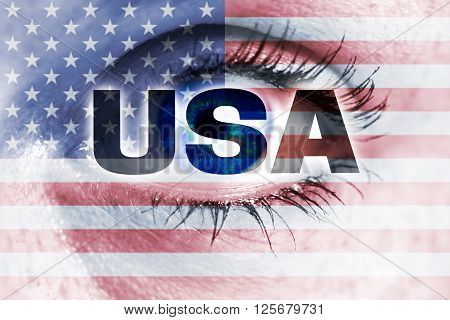 usa eye looks at viewer concept background.