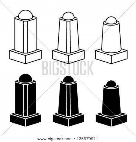 vector 3d modern concrete bollard black symbols