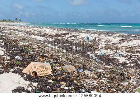 Plastics And Garbage Washed Up On Beach In Punta Allen, Mexico