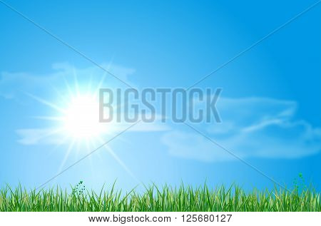 Abstract Summer Landscape With Meadow, Sky, Sun And Clouds