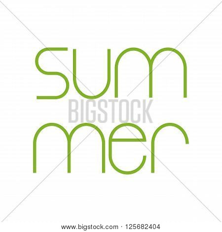 Green colored summer lettering isolated on white background. Design element / greeting card template