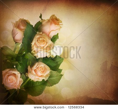 Beautiful Roses.Sepia toned.Vintage styled