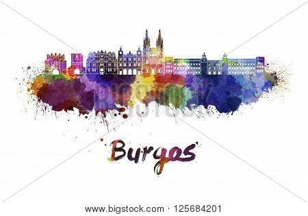 Burgos skyline in watercolor splatters with clipping path