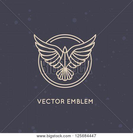 Vector Linear Logo Design Template - Eagle Emblem