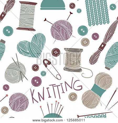 Hand drawn vector vintage illustration - Seamless pattern with knitting and crafts. Yarn pins buttons thread needle bar and knitting needles