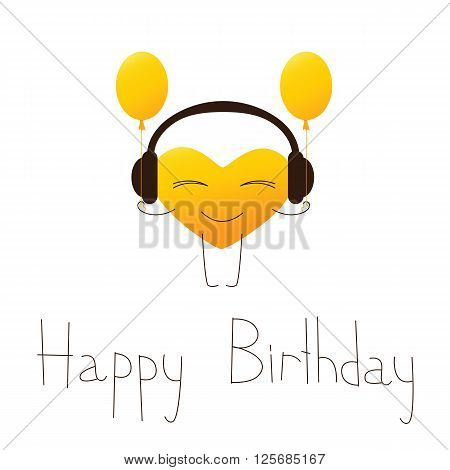Golden colored cartoon heart character in headphones with balloons and lettering Happy Birthday in English isolated on white background. Design element. Greeting card. Invitation template