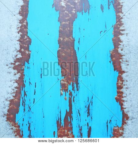 Blue painted metal with rust texture. metal texture