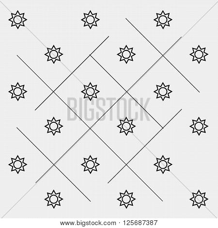 Geometric simple black and white minimal pattern, space, sun, solar system with orbits