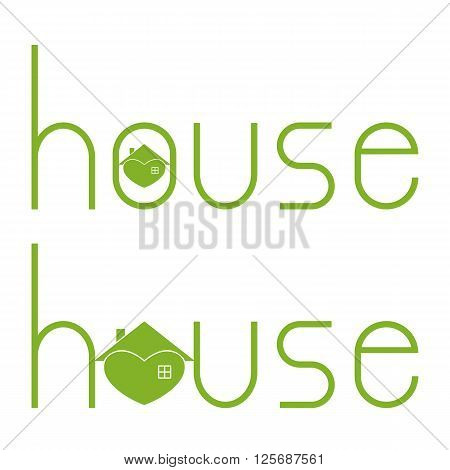Set of house lettering with hearty house as letter o isolated on white background. Logo template. Design element