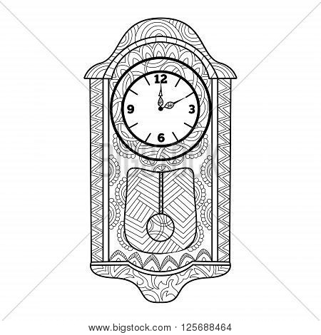 Pendulum clock coloring book for adults vector illustration. Anti-stress coloring for adult. Zentangle style. Black and white lines. Lace pattern