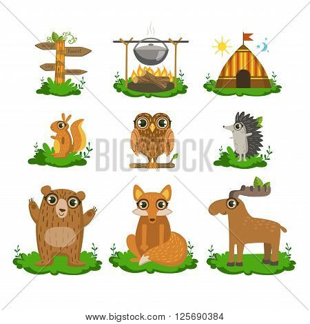 Forest Camping Flat Vector Icons Collection In Cute Girly Style Isolated On White Background