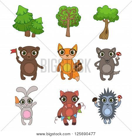 Friendly Forest Animals  Flat Vector Icons Collection In Cute Girly Style Isolated On White Background