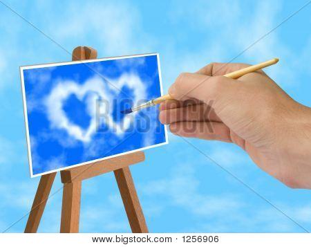 Cielo azul y las nubes en forma de corazón en caballete