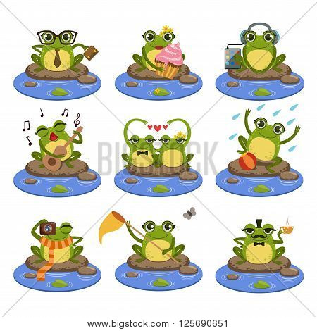 Frogs Sitting On The Stone  Flat Vector Icons Collection In Cute Girly Style Isolated On White Background