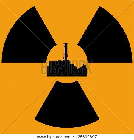 Tragedy at the Chernobyl nuclear power station. Accident in the fourth reactor of Chernobyl nuclear power station. April 26. Vector illustration.