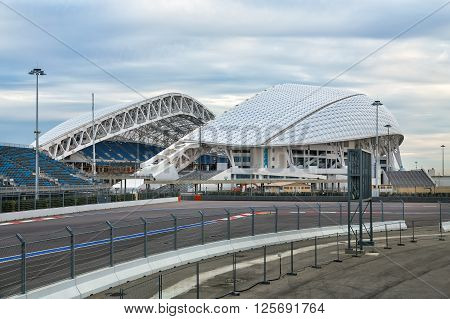 Sochi, Russia - February 5, 2016: Fisht Olympic Stadium. Reconstruction of stadium to host matches of world football championship in 2018