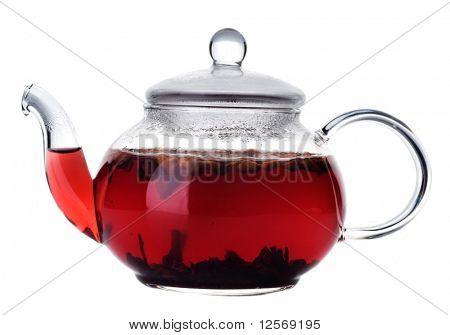 Fruta saudável chá em um pote de vidro