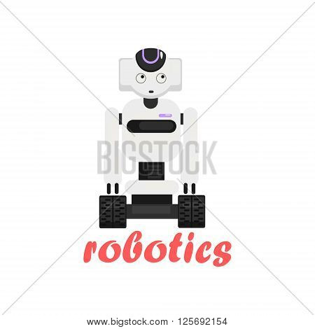 Japaneese Robot Cartoon Style Flat Vector Illustration On White Background With Text