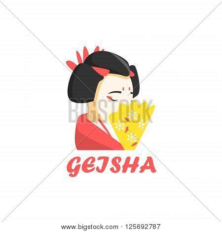 Geisha Cartoon Style Flat Vector Illustration On White Background With Text