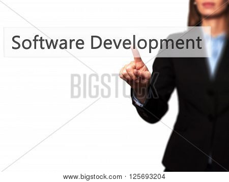 Software Development - Businesswoman Hand Pressing Button On Touch Screen Interface.