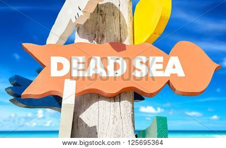 Dead Sea signpost with beach background