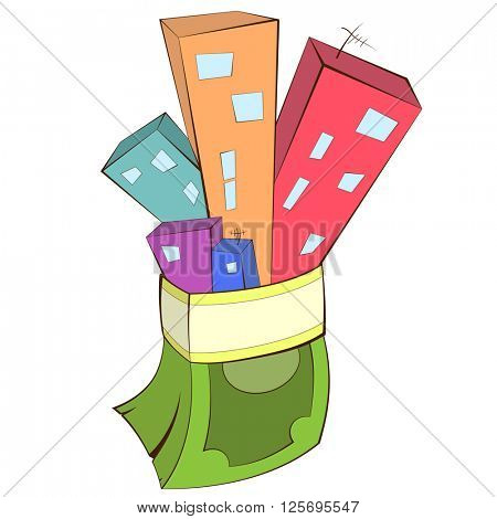 Vector illustration of a real estate concept - buying and selling house. Houses with money stack. Business concept illustration.