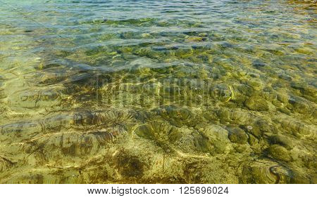 clear water with small waves in the sea