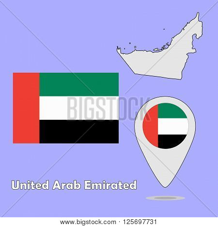 A pointer map and flag of United Arab Emirated