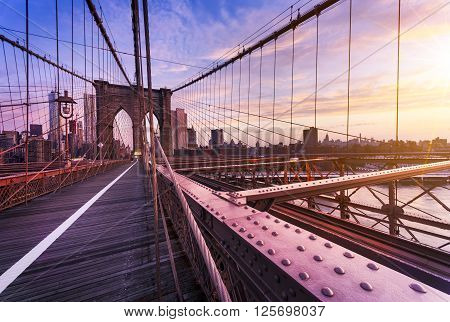 New York City USA early in the morning on the famous Brooklyn Bridge