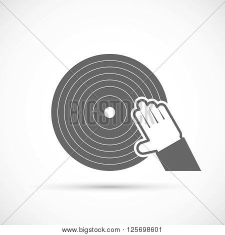Hand scratching vinyl record icon. Vinyl record, dj scratching disc