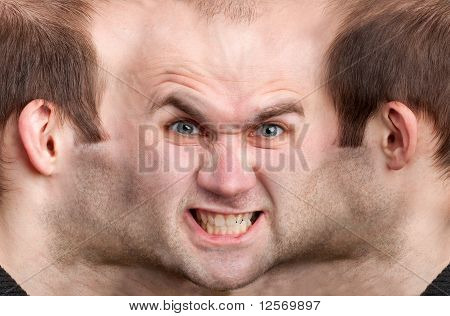 Panoramic Face Of Angry Man