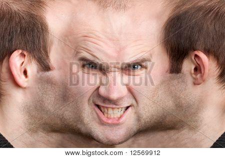 Panoramic Face Of Malicious Man