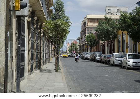 OAXACA MEXICO- MARCH 21,2016: View of a paved street in Oaxaca, Mexico