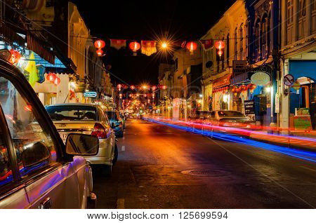 Phuket Thailand - February 16 2016: Thalang historic road in Phuket old town at night with long exposure shoot