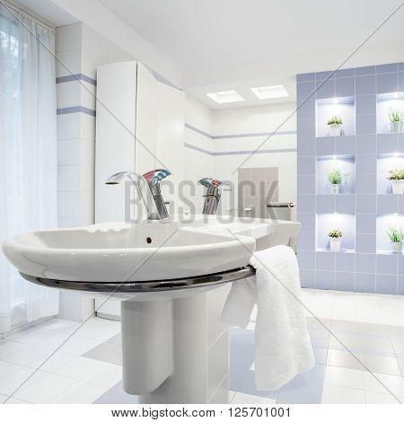 Washbasin In White Toilet