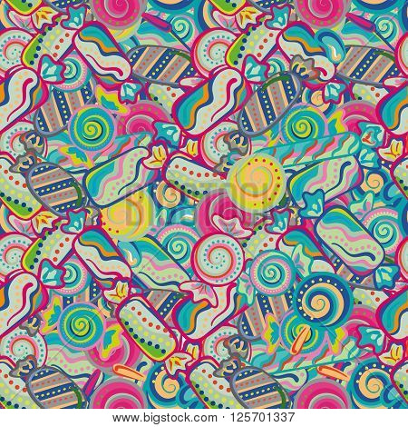 Yummy colorful sweet lollipop candy cane seamless pattern.