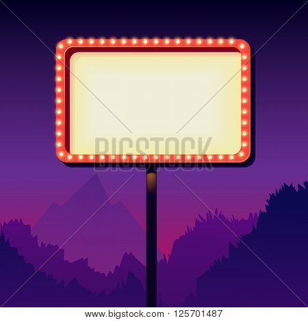 Vintage signboard with lights. Roadside sign. Road sign from the 50s. Retro character. Red billboard with lamps. White background with a blank frame. Shield against night mountain.