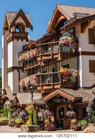 Vail, USA - September 10, 2015: Swiss Style Decorated Building of Lancelot Restaurant in Vail,Colorado