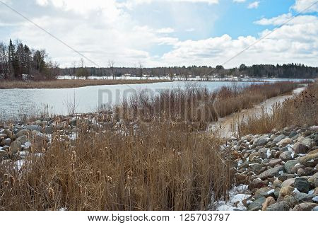 inlet and backwaters of pokegama lake in grand rapids minnesota