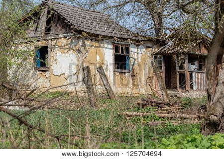 Abandoned forgotten house in countryside. No people lived there for long time