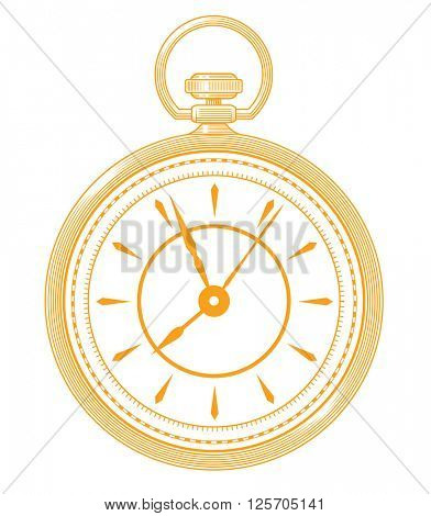 Golden pocket watch icon isolated on white background. Pocket watch vector. Pocket watch illustration. Pocket watch icon. Pocket watch logo.