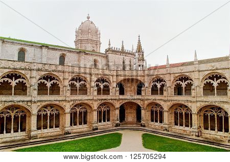 LISBON, PORTUGAL - JANUARY 21: Inner yard of the cloister of Jeronimos in Belem on January 21st, 2016 in Lisbon