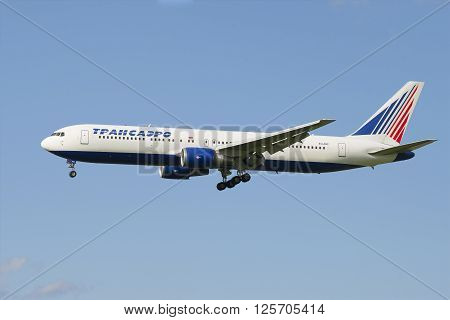 ST. PETERSBURG, RUSSIA - JULY 24, 2015: Boeing 767-319 (EI-UNC) of the company