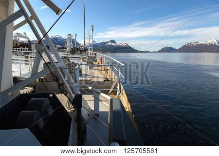 Upper deck of a tanker in the fiord in Norway.