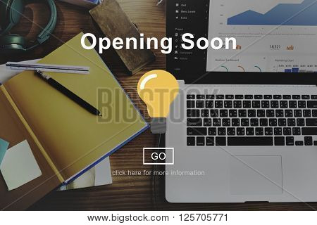 Opening Soon Advertising Notice Information Concept