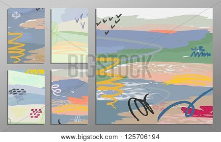 Vector illustration set of artistic colorful universal cards. Brush textures. Wedding anniversary birthday holiday party. Design for poster card invitation. Painting in the impressionism style.