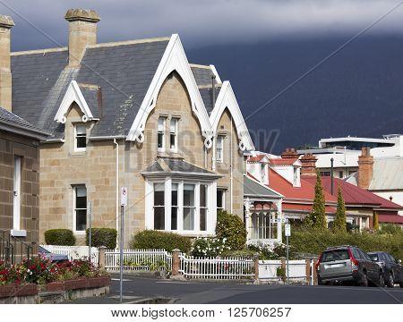 Quiet streets in Hobart town (Tasmania Australia).