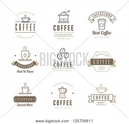 Collection of coffee icons - labels. Can be used to illustrate restaurant signs, packaging or any website or print graphic related to coffee.